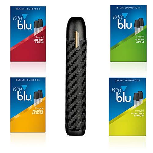 E-Zigarette myblu Black Carbon + 4 x Fruchtaroma Ohne Nikotin + Original Myblu Zubehörteile