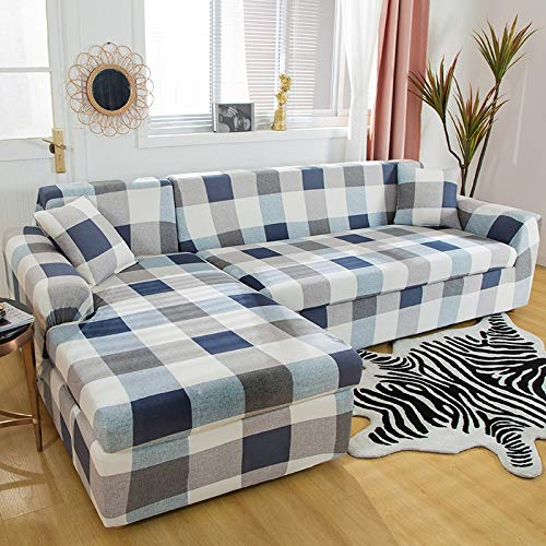 WXQY Geometric Stretch Sofa Cover for Living Room, Sofa Cover L-Shaped Need to Order 2 Sets, all-Inclusive Sofa Cover A18 4 Seater