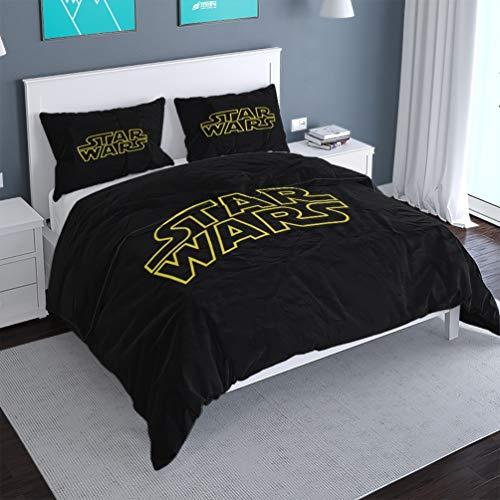 Juego de sábanas Star Wars A04,135 x 200 cm + 1/2 fundas de almohada, impresión digital 3D, microfibra ligera