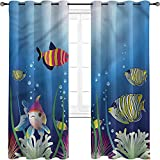 Cortinas opacas de alta resistencia para acuario, de algas marinas de peces trópicos, para dormitorio, jardín de infantes, sala de estar de 72 x 84 pulgadas