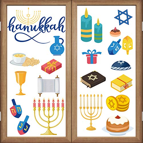 Outus 200 Pieces Hanukkah Window Clings 10 Sheets Chanukah Static Stickers Classroom Window Clings for Wall Glass Car Jewish Holiday Hanukkah Party Decoration