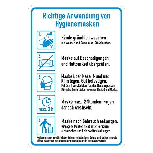Aushang Hinweisschild Aufkleber Anleitung Hygienemaske richtig anwenden, Folie selbstklebend, 135 x 200 mm Hygieneplan