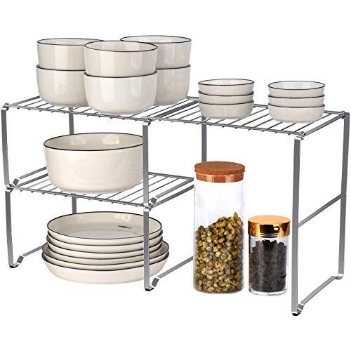 Toplife 2 en 1 estante de armario expandible, organizador de cocina de acero inoxidable para armario, encimera, despensa, inoxidable,...