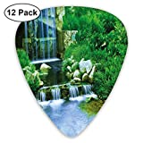 Guitar Picks - Abstract Art Colorful Designs,Waterfall Flowing Down The Rocks Foliage Cascade In Forest Valley Image,Unique Guitar Gift,For Bass Electric & Acoustic Guitars-12 Pack