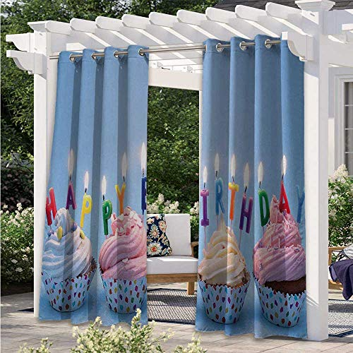 Print Curtains Delicious Creamy Cupcakes with Letter Candles Sweet Celebration Theme Art Print Waterproof Patio Door Panel Gives A Nice Polished Look Multicolor W84 x L84 Inch