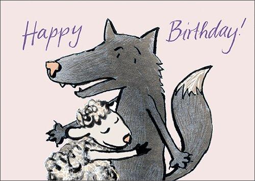 Anja vogel in 5-delige set: Happy Birthday! Mooi geïllustreerde verjaardagskaart met wolf en schaap
