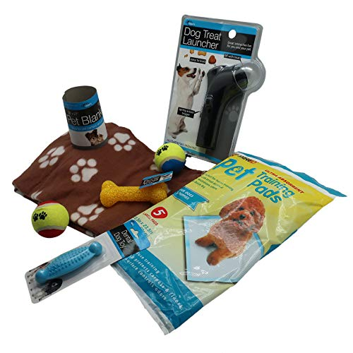 New Puppy Starter Kit   Includes Pee Pads for Dog's Potty Training, Bone & Tennis Ball Toys, Fleece Blanket, Treat Launcher w/ Spring Action Trigger   For Small, Medium & Large Breeds, Pet Gift Set