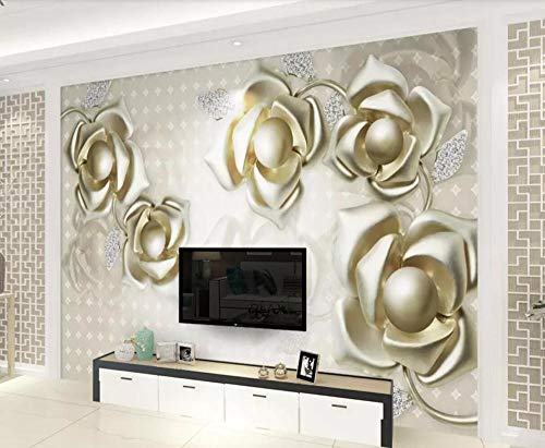 Papel Pintado 3D Flor De Oro En Relieve De Joyería De Lujo Fotomural 3D Papel Tapiz Moderno Wallpaper