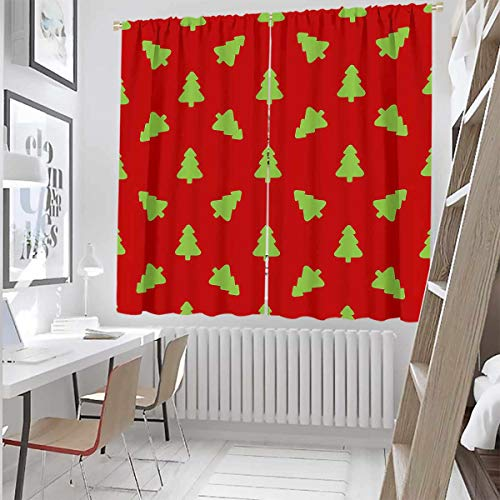 Toopeek Pattern for Wrapping Paper Green Christmas Tree on a red Background Wear-Resistant Color Curtain 524956042 Waterproof Fabric W52 x L63 Inch