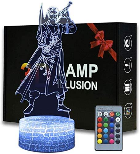 Lámpara de ilusión 3D LED noche luz de una pieza Roronoa Zoro B con control remoto 16 cambio de color acrílico hoja grieta base lámparas mesita de noche