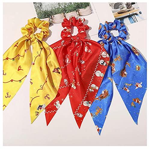 3 unids moda Navidad anillo de pelo mujeres cola de caballo bufanda triángulo largo cintas arco lazos impresos coleteros accesorios para el cabello
