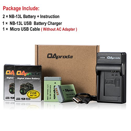 OAproda Fully Decoded NB-13L Battery (2 Pack) and USB Charger for Canon PowerShot SX730, SX740 HS, G7 X Mark II, SX620 HS, SX720 HS, G7 X, G9X Mark II, G1 X Mark III, G5 X, G9 X Digital Camera