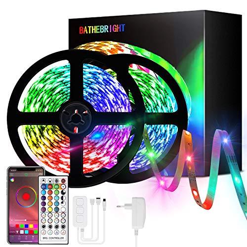 Luces LED, Tira LED Habitacion 10M 5050 con Controlador Bluetooth Sincronizar, Tiras LED De Interior, Tira LED RGB