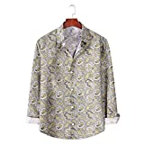 Camisa de Manga Larga con Estampado de Bloques de Color para Hombre, Tendencia de Moda, Informal, cómodas, Camisas básicas con Cuello Vuelto L