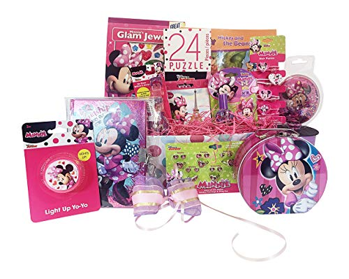 Valentin Gift Basket For Kids Minnie Mouse Themed 10 items in 1 Get Well, Birthday Basket with Novelties, Jewelry, Watch, Hair Accessories, Fun & Games