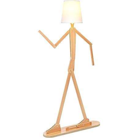 Lampadaire en bois pour salon, chambre à coucher et autres pièces, lampadaire de lecture lampadaire hauteur 160 cm - formes modulables pour bricolage modernes [brun]