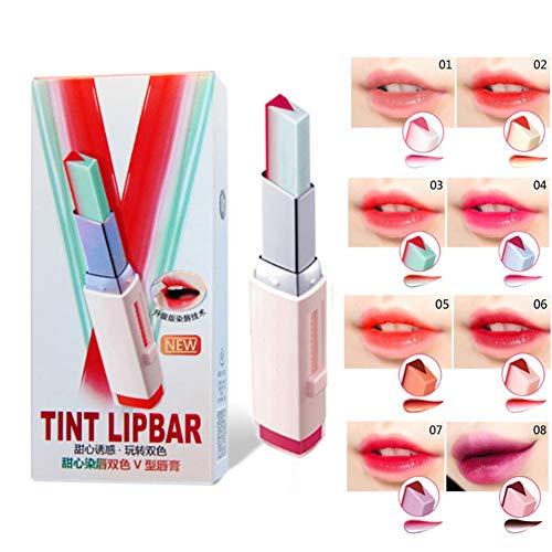 Sarpico V-förmiger zweifarbiger Lippenstift Feuchtigkeitsspendende Lipgloss-Kosmetik