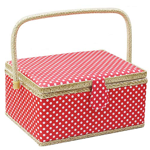 Check Out This Large Sewing Basket with Accessories,Wooden Sewing Organizer Box for Sewing Supplies ...