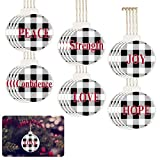 24pcs Buffalo Plaid Christmas Wishes Tree Ornaments- 2.8' Wood Xmas Tree Hanging Decorations in 6 Styles Hangable Wooden Crafting Pendants with with 24 Linen Twines for Xmas Home Decor (Black& White)