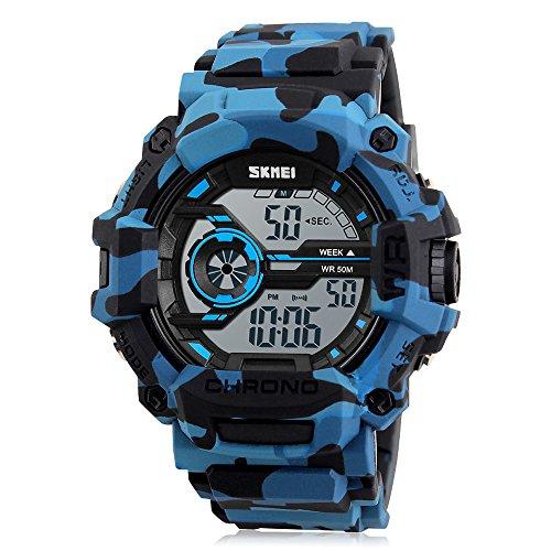 Reloj Camuflaje,Adolescentes Deportivo Reloj(Digital, para Deporte, con cronómetro, Impermeable, Militar, led Azul) Color Camuflaje