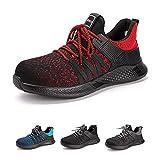 Zapatos de Seguridad Hombre Mujer con Punta de Acero Zapatillas de Trabajo Ligeras y Cómodas Calzado de Construcción Z Rojo 40 EU