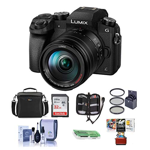 Panasonic Lumix DMC-G7 Mirrorless Digital Camera with Vario 14-140mm f/3.5-5.6 Lens, Black - Bundle with Camera Case, 32GB SDHC Card, 58mm Filter Kit, Cleaning Kit, Card Reader, Mac Software Package