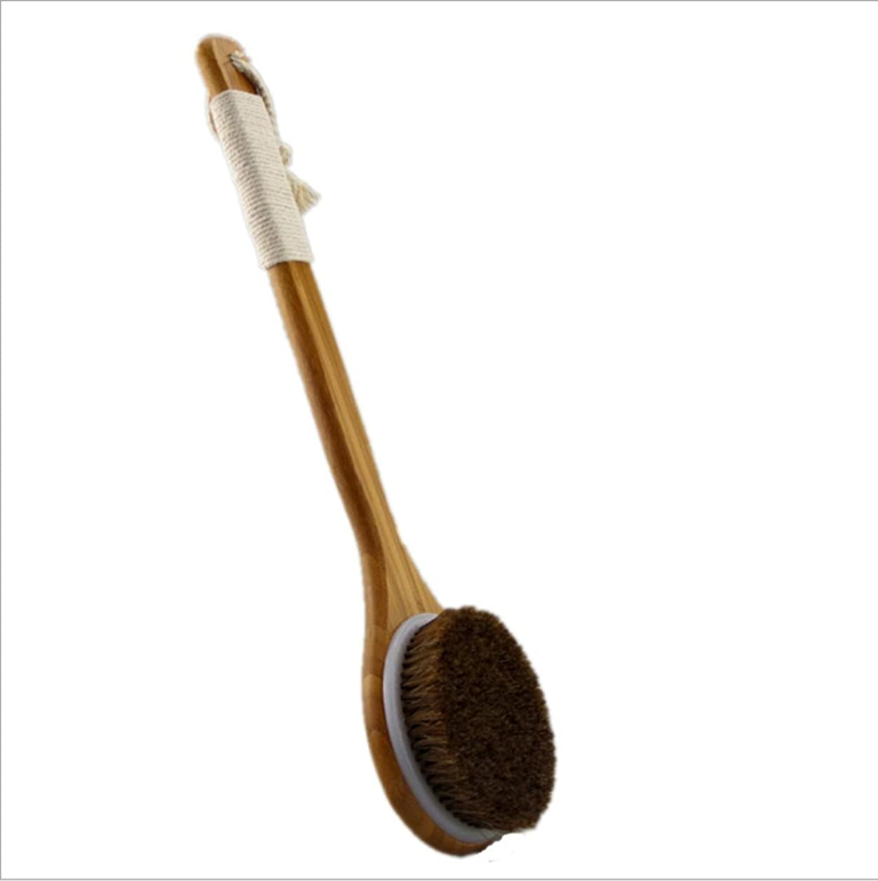 抵抗力がある柱合図Bigmind 100%天然高級な馬毛ボディブラシ あかすり 竹製長柄 体洗い/背中ブラシ お風呂