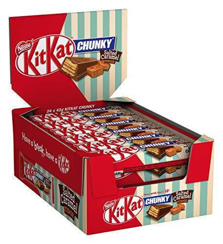 Nestlé KITKAT ChunKy Salted Caramel Fudge, Schokoriegel aus Milchschokolade und Fudge-Füllung mit Salznote & knuspriger Waffel, Multi-Pack, 24er Pack (24 x 42g)