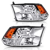 DWVO Headlight Assembly Compatible with 2009-2018 Dodge Ram 1500 2500 3500 Pickup Quad Headlamp Replacement Chrome Housing Amber Reflector (Quad Models Only)