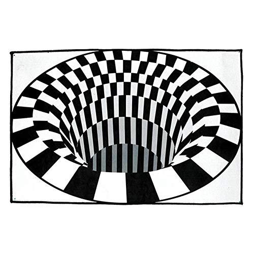 Babitotto Alfombra con impresión de remolinos 3D, diseño de ilusión visual, color...