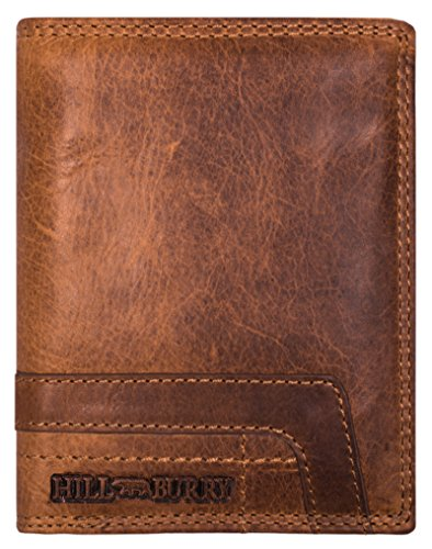 Hill Burry Geldbörse Herren Leder RFID | Echt-Leder Portemonnaie - aus weichem hochwertigem Voll-Leder | Große Brieftasche - Vintage Portmonee Geldbeutel | Kredit-Kartenetui | Hochformat (Braun)
