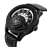 SDTLE Creative Compass Men Watch Relojes de Cuarzo Sport Turntable Dial Relojes de Pulsera Casual Correa de Cuero Militar Black Man Clock, Creative Men Watch 2