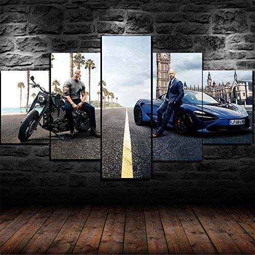 5 Piezas Motocicleta negra superficial azul furiosa Panel Wall Art Print Lienzo Arte de la Pared Cuadro Pintura Adolescentes Decoración de la habitación Lienzos Carteles de impresión Regalo,B,150x80cm
