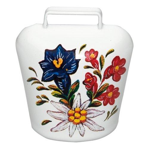 ebos Magnetschelle ✓ Alpenblumen Aufdruck ✓ Magnet - Ultra stark in schickem Allgäu Motiv ✓ Glocke | Blickfang | Super für die Magnetwand oder Kühlschrank | hält 10 DIN A4 Seiten