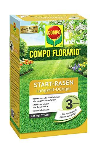 COMPO FLORANID Start-Rasen Langzeit-Dünger, 3 Monate Langzeitwirkung, Feingranulat, 1,25 kg, 62,5 m²
