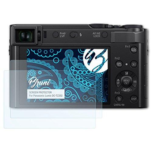Bruni Schutzfolie kompatibel mit Panasonic Lumix DC-TZ202 Folie, glasklare Displayschutzfolie (2X)