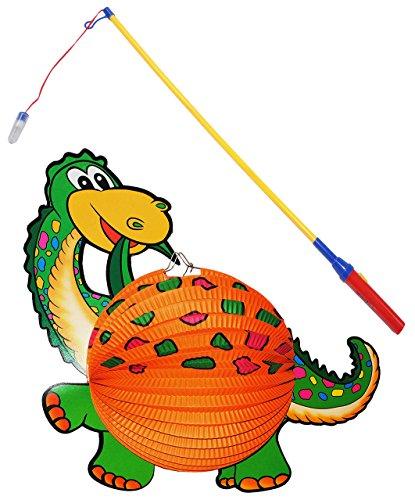 alles-meine.de GmbH 2 TLG. Set: Papier Laterne / Lampion + Laternenstab - Dinosaurier Dino - Papierlaterne für Kinder - Laternen Lampions - für Laternenumzug - Mädchen Jungen / b..