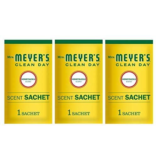 Mrs. Meyer's Clean Day Air Freshening Scent Sachets, Fragrance for Lockers, Cars, and Closets, Honeysuckle Scent, 3 ct