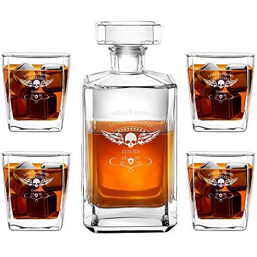 Murrano Whiskey Karaffe + 4er Whiskygläser Set mit Gravur - 700ml Whisky Dekanter - Geschenk zum Geburtstag für Männer - Living Legend