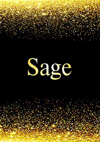 Sage Notebook: Personalized Journal to Write In Notebook - Printed Glitter Black and Gold , Notebook Journal - 110 pages, 7x10 inch. Christmas gift , birthday gift idea