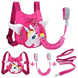 Toddler Harness with Leash + Anti Lost Wrist Link, Accmor Unicorn Toddler Harness Leashes, Child Walking Wristband Assistant Strap Belt for Baby Girls