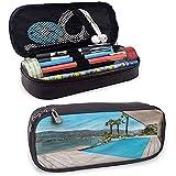 Patio de vacances debout étui à crayons avec piscine en bois pont multifonctionnel sac à crayons papeterie de stockage