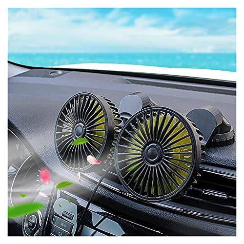 Huhu 12V 24V Coche Ventilador eléctrico Montado por automóvil Ventilador USB Aire Acoplamiento Aire de Aire Dual Ventilador de Doble Ruido Auto Refrigerador Aire Aire Ajuste para Dashboard SUV RV