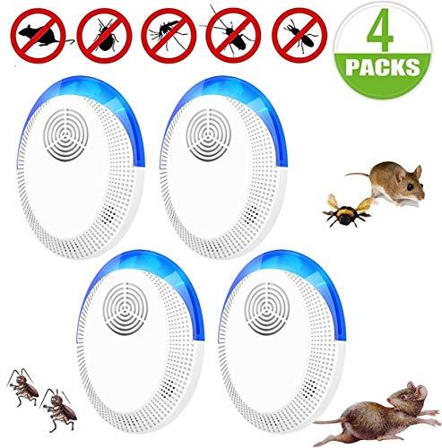 Repelente Ultrasónico Mosquitos, de Plagas Control de Plagas para Las Moscas, Cucarachas, Arañas, Hormigas, Ratas y Ratones, Insectos Antimosquitos Eléctrico Extra Fuerte para Interiores (4 Packs)