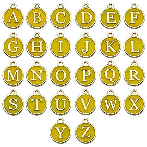 Chytaii 26 colgantes de aleación con letras del alfabeto de la A a la Z para hacer joyas, pendientes, pulseras y collares