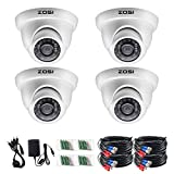 ZOSI 4 Pack 1080P Surveillance Dome CCTV Cameras for HD TVI/Analog Security dvr System with 65ft Night Vision 24pcs IR led Lights for Outdoor Indoor Using (Renewed)