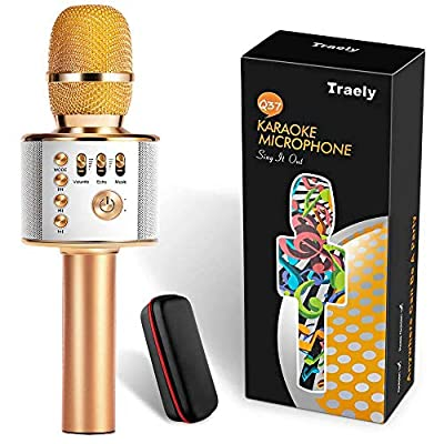 TRAELY Toys for 4-12 Years Old Girls Boys Karaoke Microphone for Kids Wireless Bluetooth Rechargeable Portable Singing Karaoke Machine Christmas Birthday Gifts for Age 4 5 6 7 8 9 10 Party by TRAELY