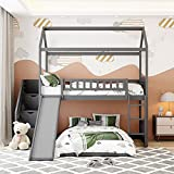 Bunk Bed with Slide, House Bunk Beds Twin Over Twin Stairway Bunk Beds Playhouse Bunkbed with Storage for Kids Toddlers Girls/Boys, Gray