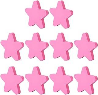 Juanwen 10 Piezas Pomos y Tiradores Infantiles Tiradores de PVC para habitación Mueble Infantil Forma de Estrella para ...