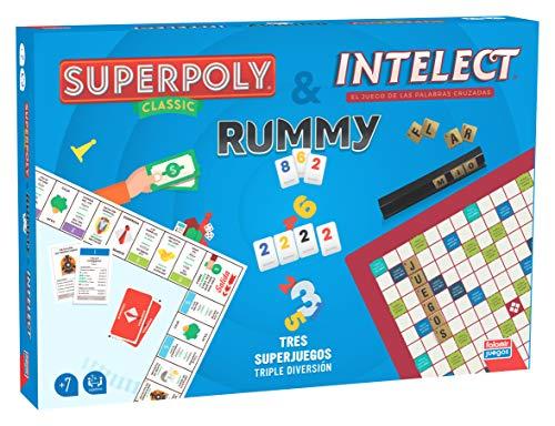 Falomir- Superpoly + Intelect + Rummy. Juego de Mesa. Clásicos, Multicolor (31061)